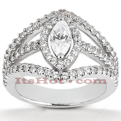 14K Gold Diamond Unique Engagement Ring 0.92ct