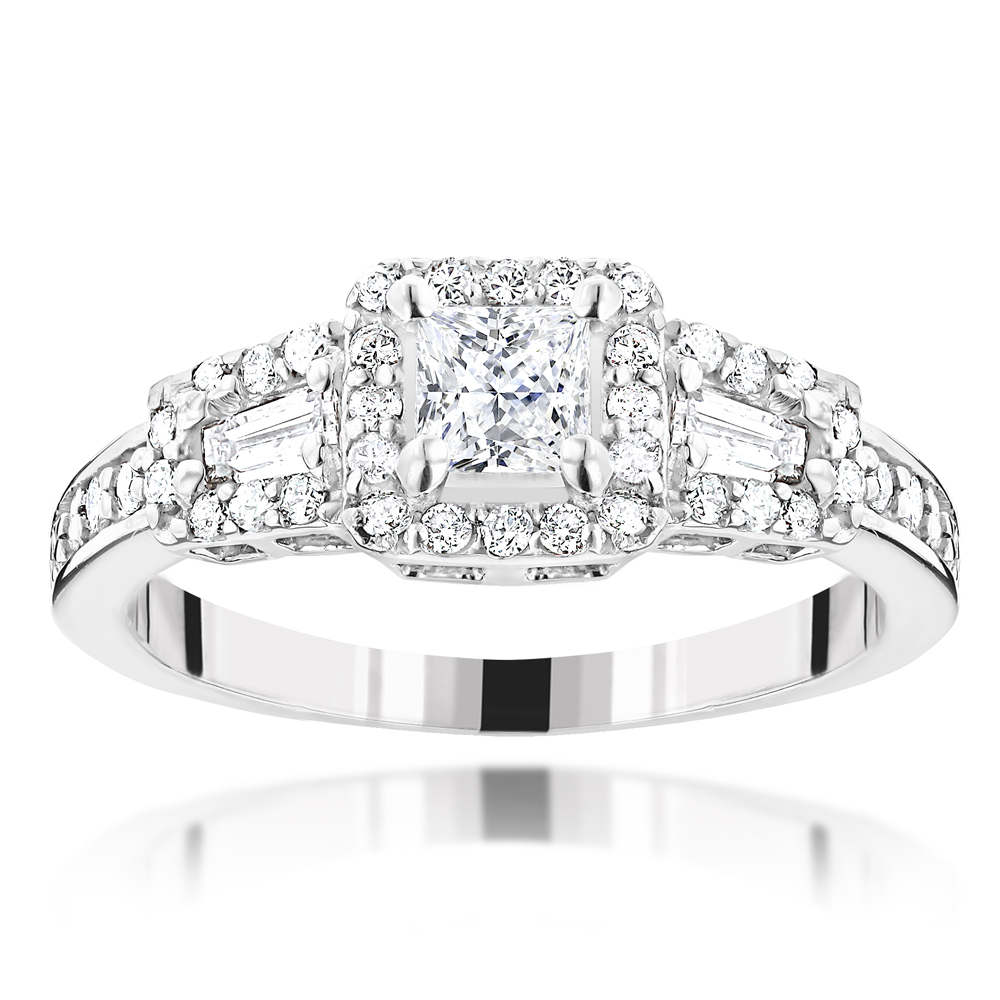 14K Gold Diamond Unique Engagement Ring by Luxurman 0.94ct White Image