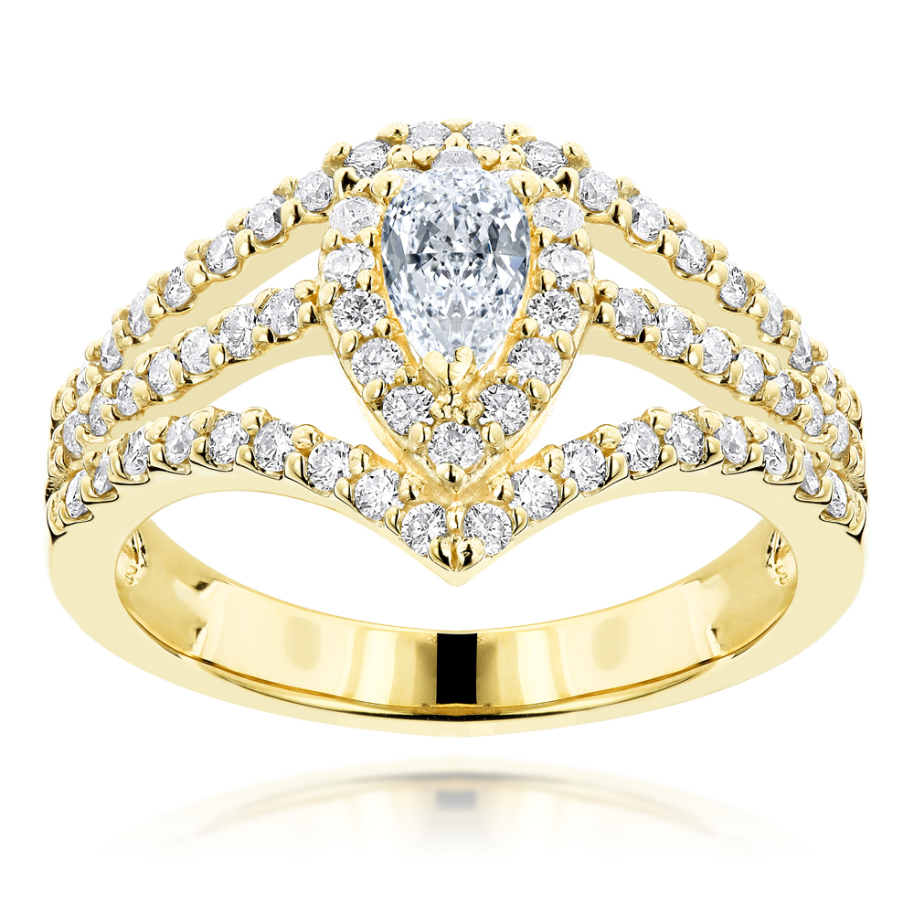 14K Gold Diamond Unique Engagement Ring 0.94ct