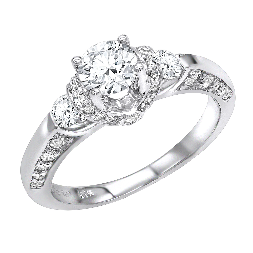 14K Gold Diamond Unique Engagement Ring 1.07ct