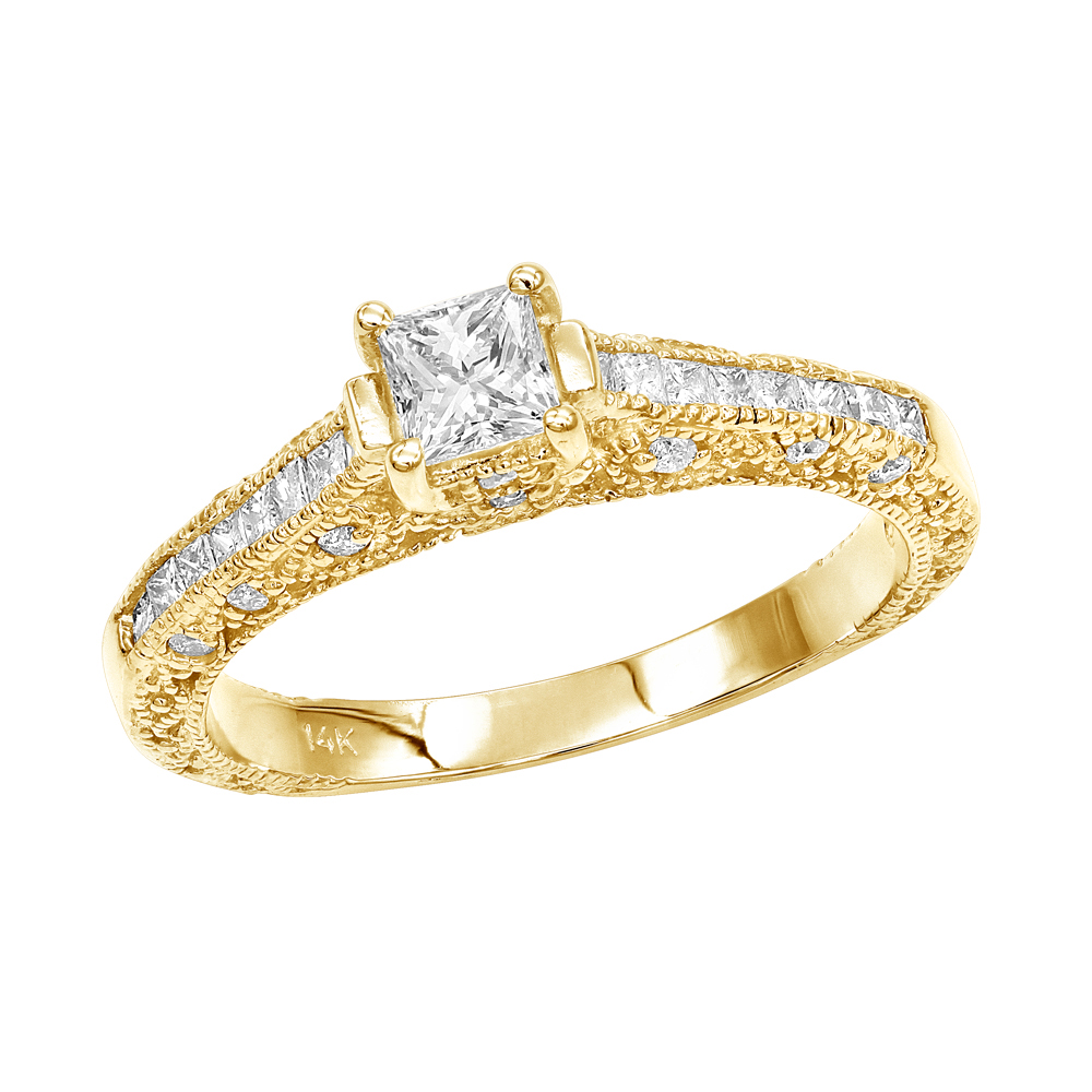 Thin 14K Gold Diamond Unique Engagement Ring 1.10ct Yellow Image