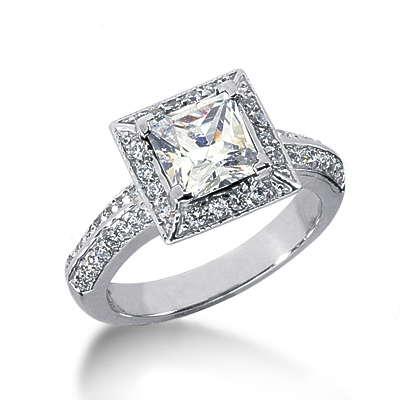 14K Gold Diamond Unique Engagement Ring 1.86ct 3/8 in (10mm); band: 1/8 in (3.5mm) Main Image