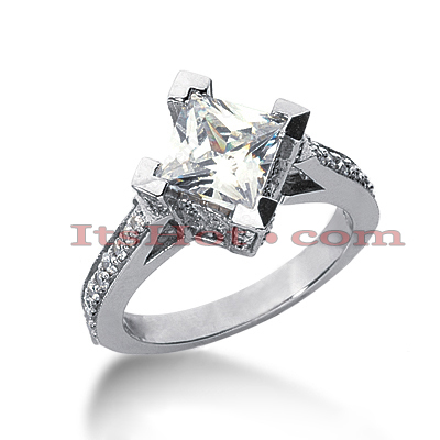 14K Gold Diamond Unique Engagement Ring 2.17ct