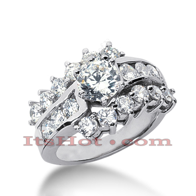 14K Gold Diamond Unique Engagement Ring 2.18ct Main Image