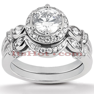 14K Gold Diamond Unique Engagement Ring Set 0.75ct