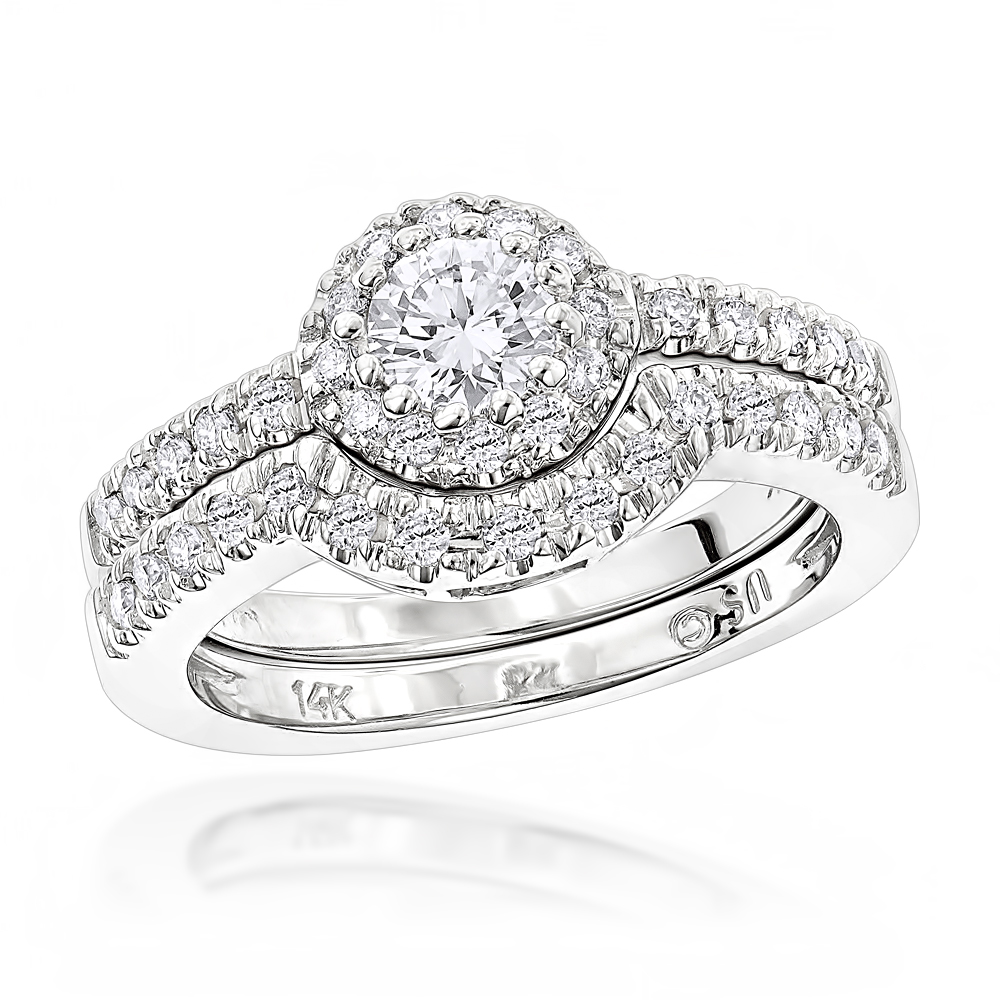 14K Gold Diamond Unique Engagement Ring Set 0.77ct White Image
