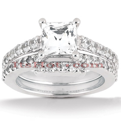 14K Gold Diamond Unique Engagement Ring Set 0.94ct Main Image