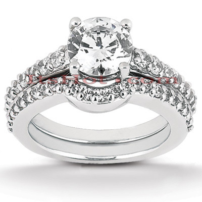 14K Gold Diamond Unique Engagement Ring Set 1.04ct