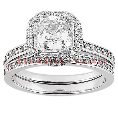 14K Gold Diamond Unique Engagement Ring Set 1.19ct