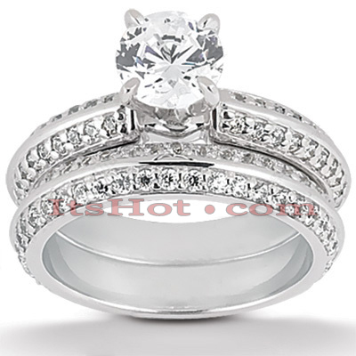 14K Gold Diamond Unique Engagement Ring Set 1.29ct Main Image