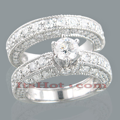 14K Gold Diamond Unique Engagement Ring Set 3.24ct Main Image