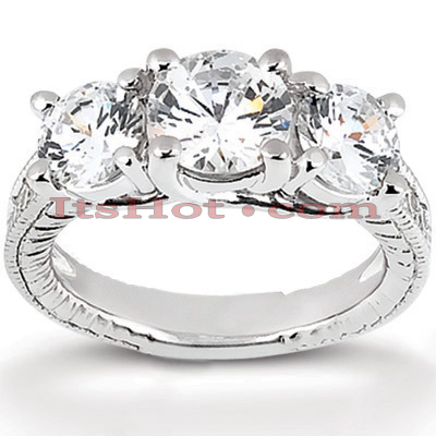 14K Gold Diamond Vintage Engagement Ring 0.95ct Main Image