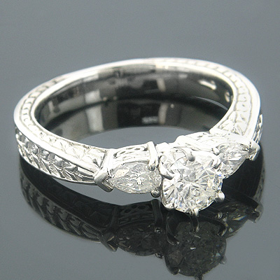 Vintage 3 Stone Round & Pear Diamond Engagement Ring 1ct 14k Gold