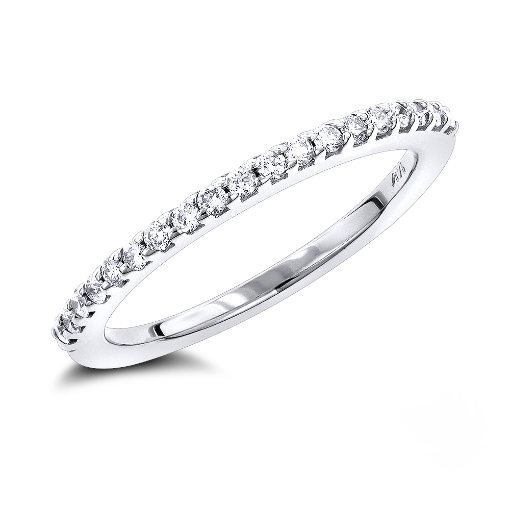 14K Gold Diamond Wedding Band for Women by Luxurman 0.35ct White Image