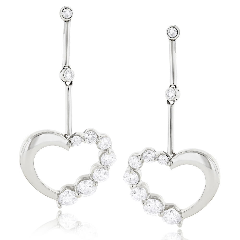 14k Gold Diamond Womens Heart Earrings 1.1 ctw. White Image