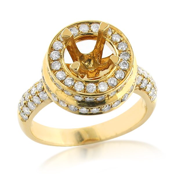 Halo 14K Gold Double Disk Diamond Engagement Ring Setting 1.60ct