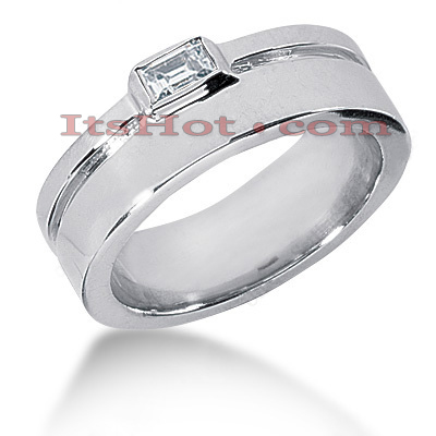 14K Gold Emerald Cut Diamond Men's Wedding Ring 0.33ct Main Image