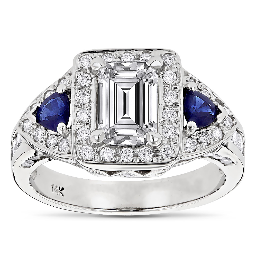 14K Gold Emerald Diamond Sapphire Unique Engagement Ring 2.5ct by Luxurman White Image
