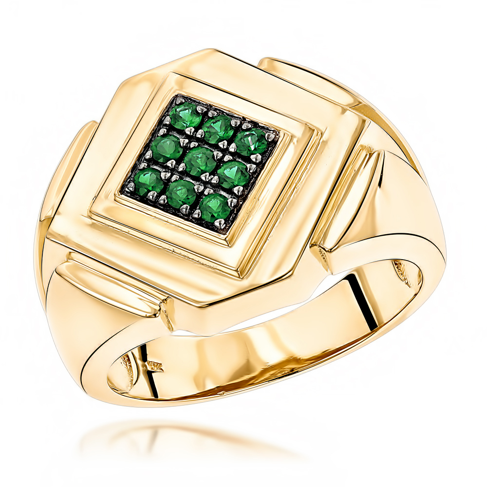 14K Gold Emerald Mens Ring by Luxurman Yellow Image