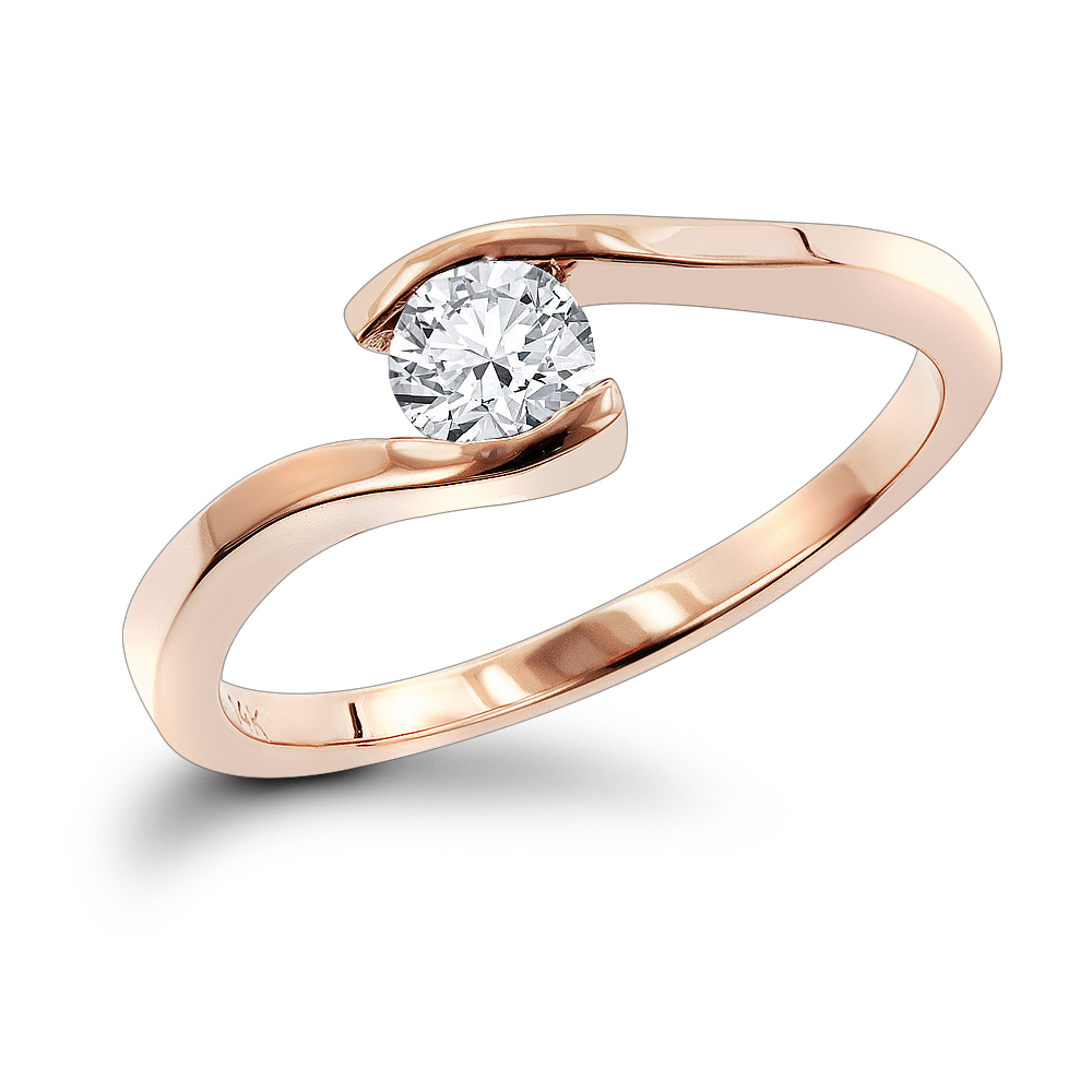 14K Gold Engagement Ring Mounting Rose Image