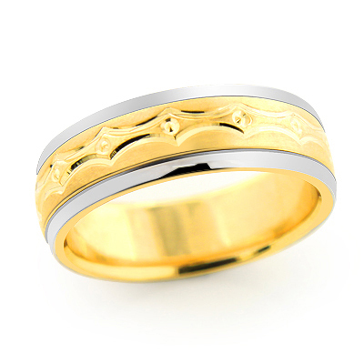 14K Gold Fancy Wedding Band for Men
