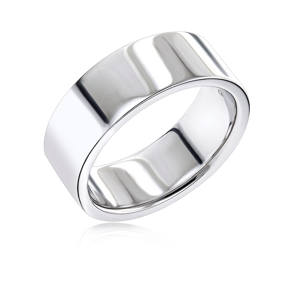 14K Gold Flat Comfort Fit Wedding Ring for Men White Image