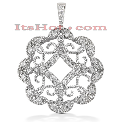 14K Gold Floral Cut-Out Pendant 0.73ct Main Image