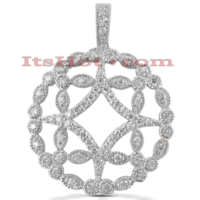 14K Gold Floral Cut-Out Pendant 0.88ct