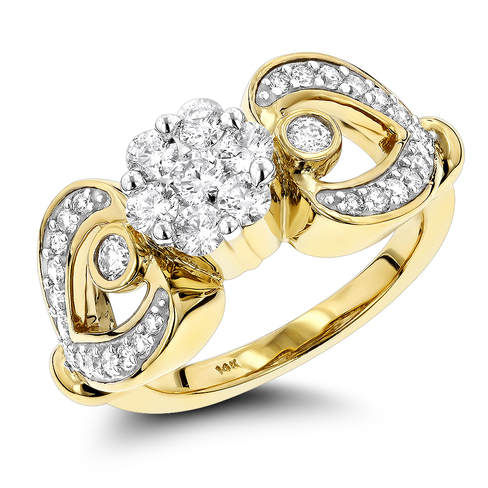 14K Gold Floral Diamond Engagement Ring 1 ct Yellow Image