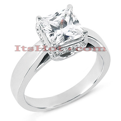 14K Gold Four-Prong Engagement Ring Mounting 0.03ct Main Image