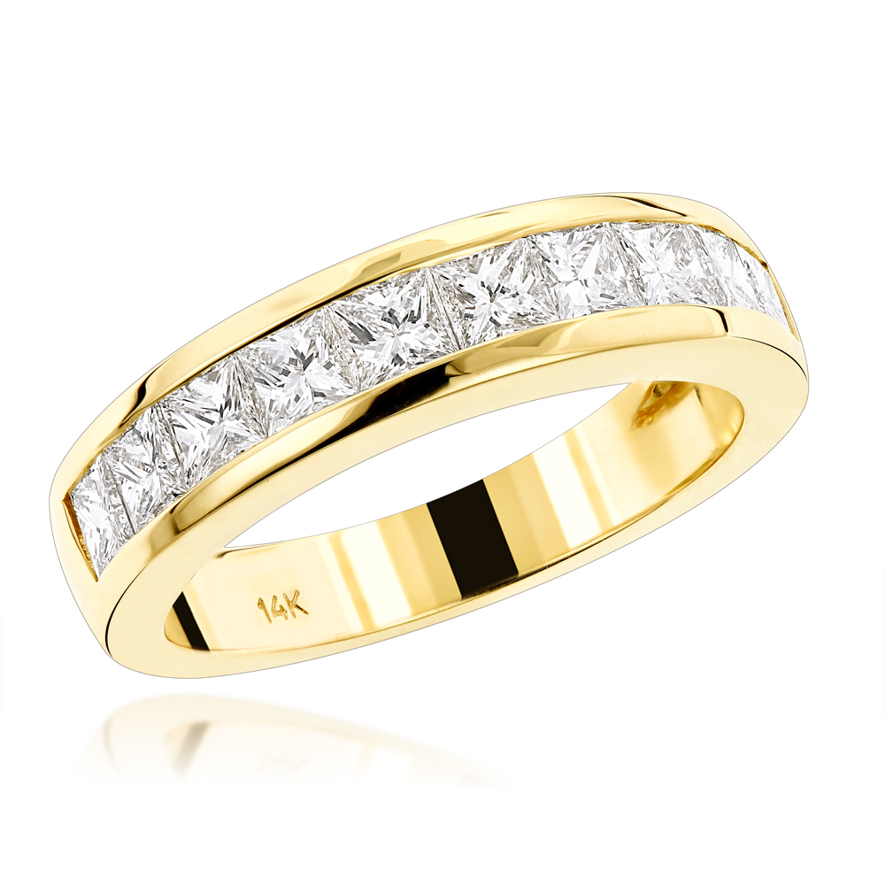 14K Gold G/VS Princess Cut Diamond Wedding Band 1.75ct Yellow Image