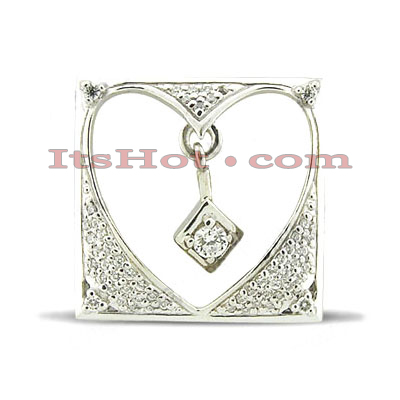 14K Gold Heart Cut-Out Diamond Pendant 0.30ct Main Image