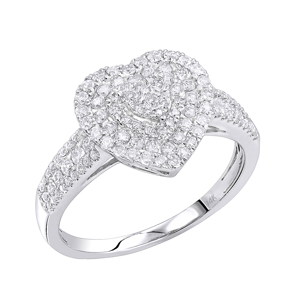 14K Gold Heart Diamond Ring for Women Cluster Setting 0.8ct by Luxurman White Image