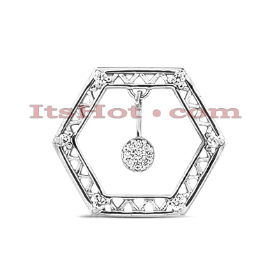 14K Gold Hexagon Diamond Pendant 0.30ct Main Image