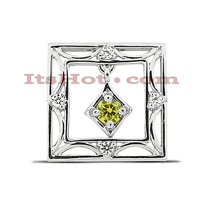 14K Gold Hollow Square Pendant 0.41ct Main Image