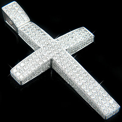 14K Gold Iced Out Mens Diamond Cross Pendant 7.55ct Main Image