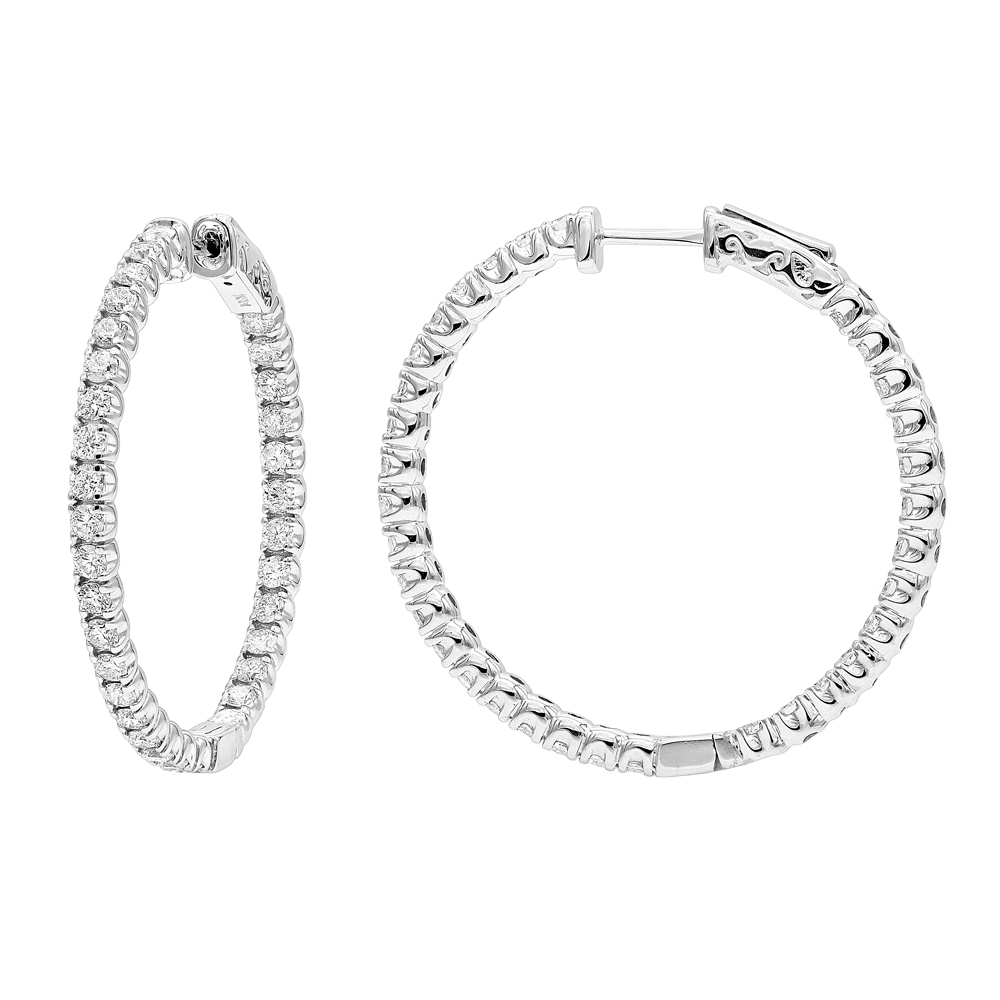 14K Gold Inside Out 3 carat Hoops Diamond Earrings for Women by Luxurman White Image