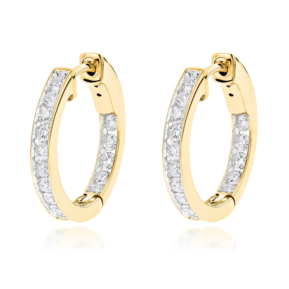 14K Gold Inside Out Channel Set Diamond Hoop Earrings 1.45ct Yellow Image