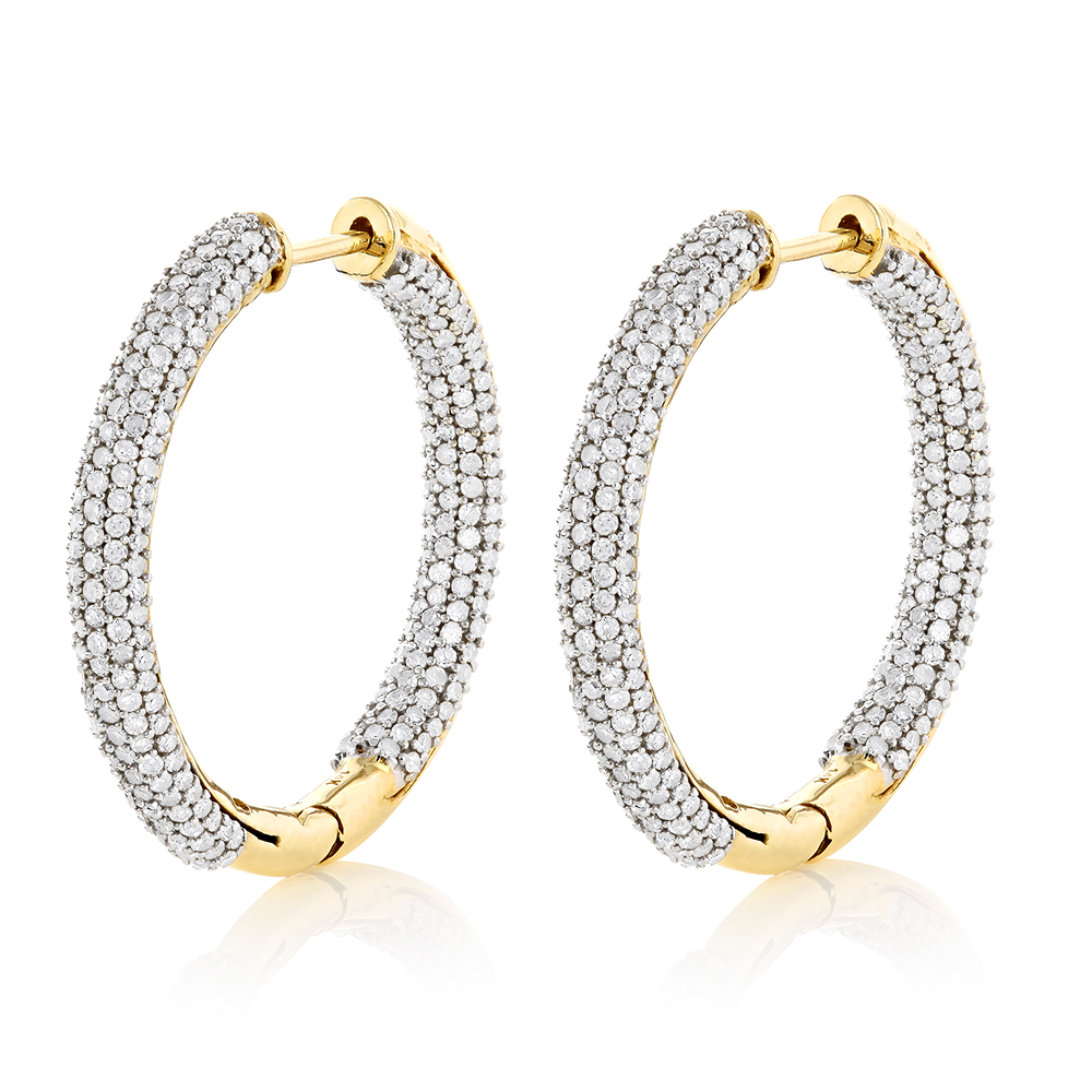 14K Gold Inside Out Diamond Hoop Earrings 2.63ct Yellow Image