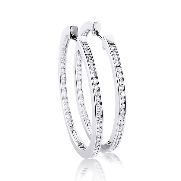 14K Gold Inside Out Diamond Hoop Earrings 4.6ct Main Image