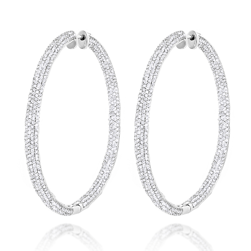 14K Gold Inside Out Diamond Hoop Earrings 5.40ct White Image