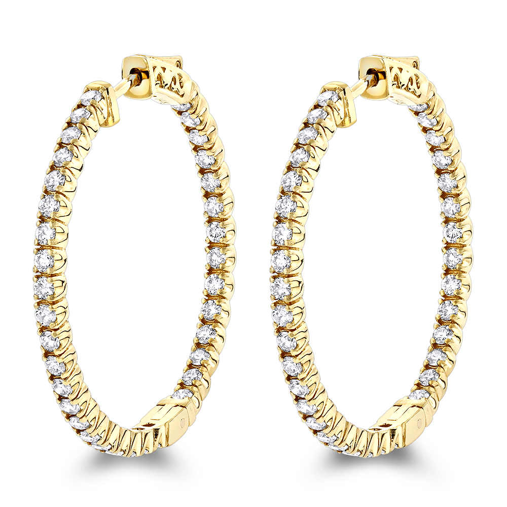 14K Gold Inside Out Diamond Hoop Earrings for Women by Luxurman 2.1ct