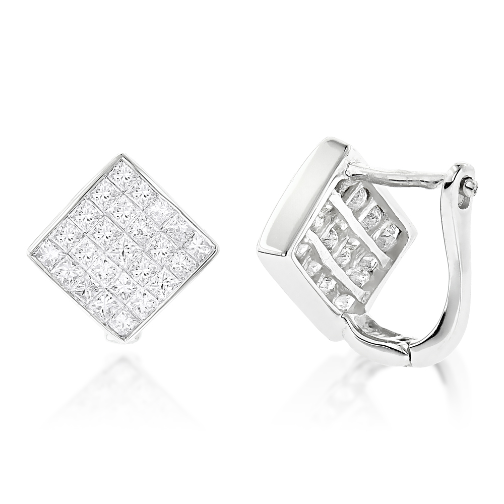14K Gold Invisible Princess Cut Diamond Earrings 1.45ct White Image