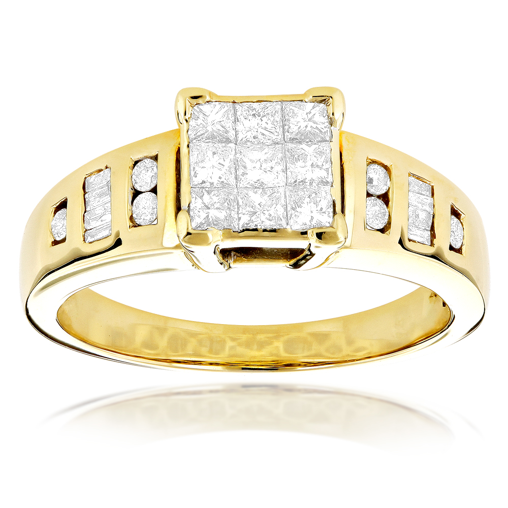 14K Gold Invisible Set Diamond Engagement Ring 0.83ct