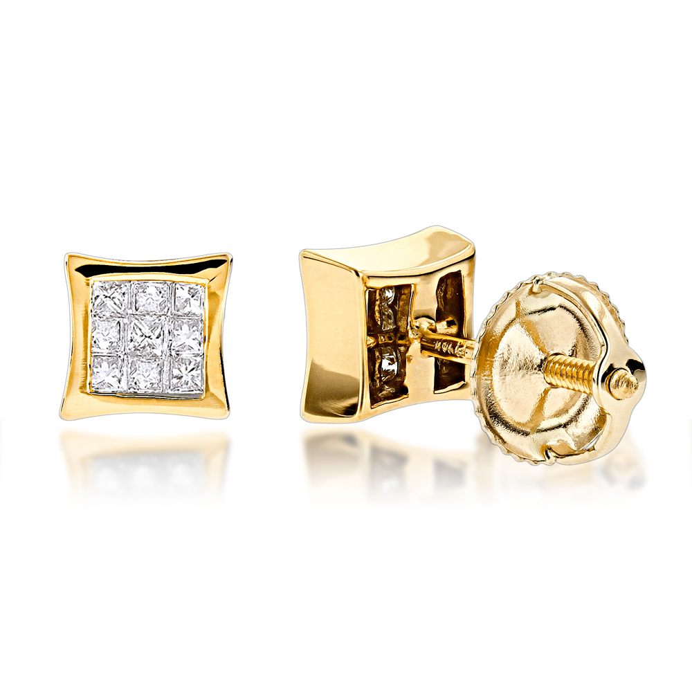 princess earrings yellow invisible l gold cut set blue diamond ctw stud