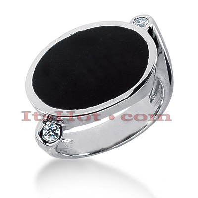 14K Gold Ladies Black Onyx Ring 0.10ct Main Image