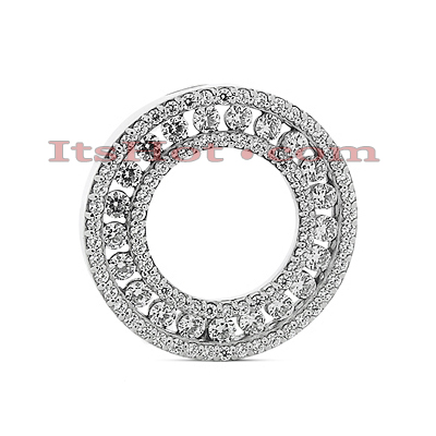 14K Gold Ladies Circle Diamond Necklace 1.83ct