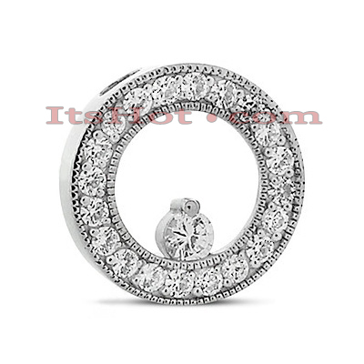 14K Gold Ladies Circle Diamond Pendant 0.80ct Main Image