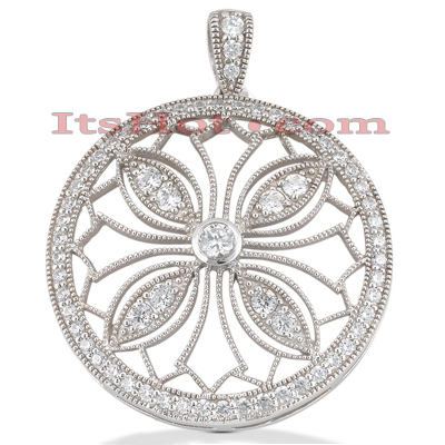 14K Gold Ladies Circle Diamond Pendant 1.88ct Main Image