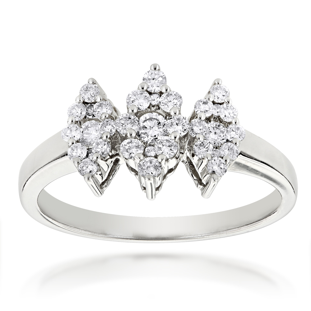 14K Gold Ladies Cluster Diamond Ring 0.63ct Three Stone Ring Design
